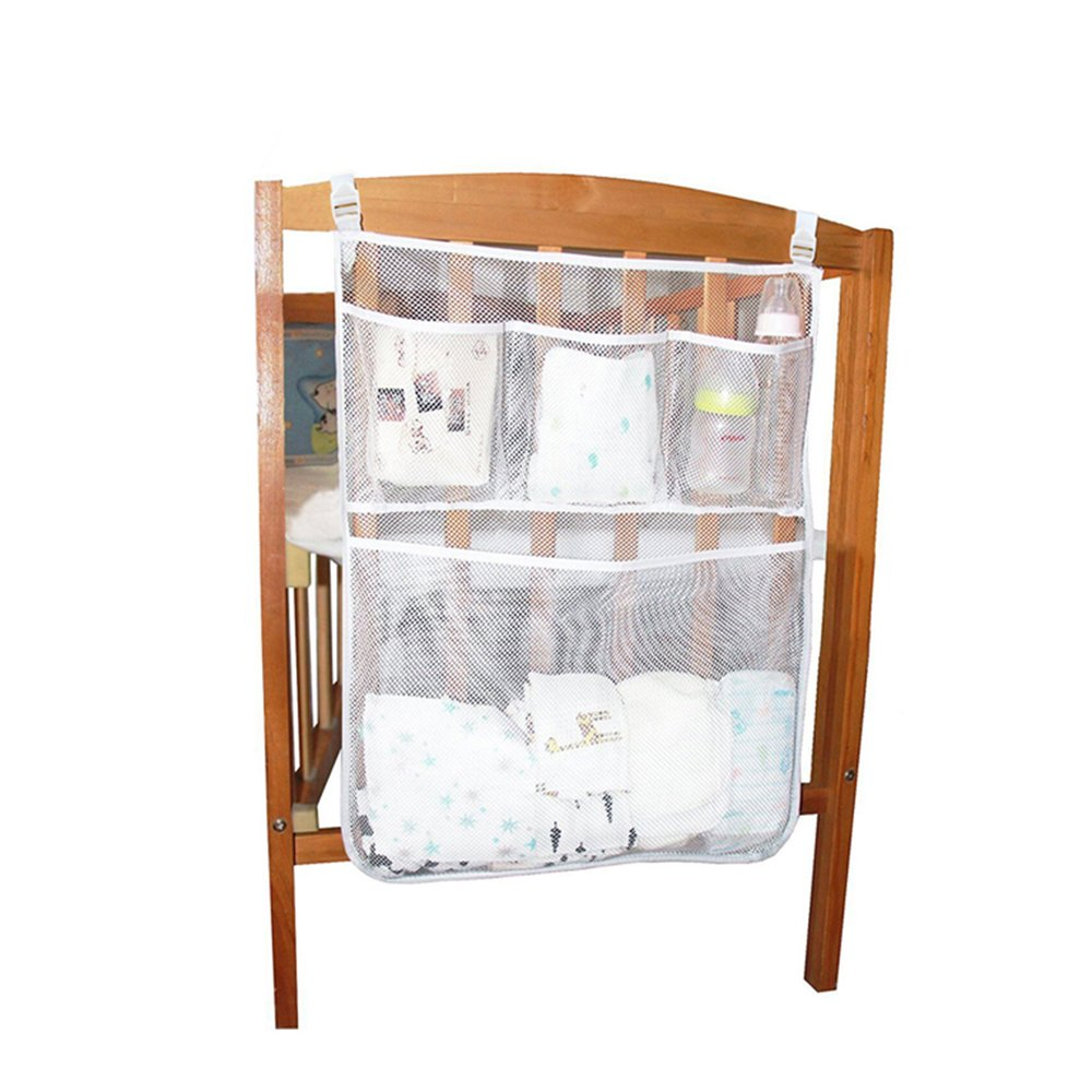 Anzirose Diaper Organizer Crib Side Hanging Mesh Organiser Storage Pouch Bag for Diaper Tissue Baby Cloth Bottle etc