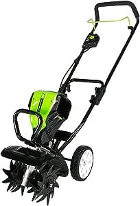 Greenworks Pro 10-Inch 80V Tiller TL80L210 2Ah Battery Included, Black And Green