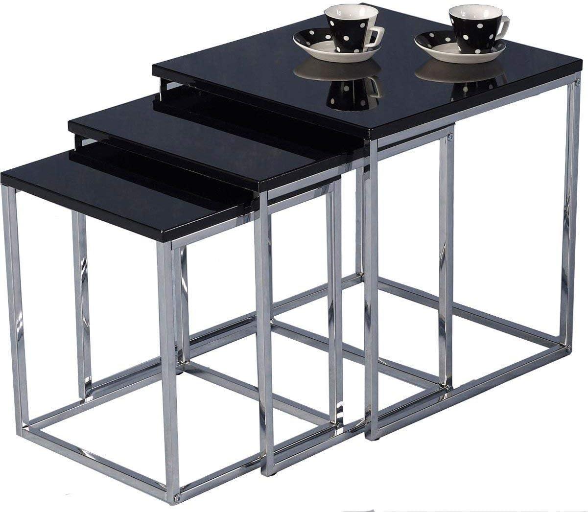 Nieuwe Aankomst GWFVA Moderne 3 Nest of Table zwart hoogglans sets sofa salontafel woonkamermeubels sofa bijzettafel (zwart) zwart LveSBqn