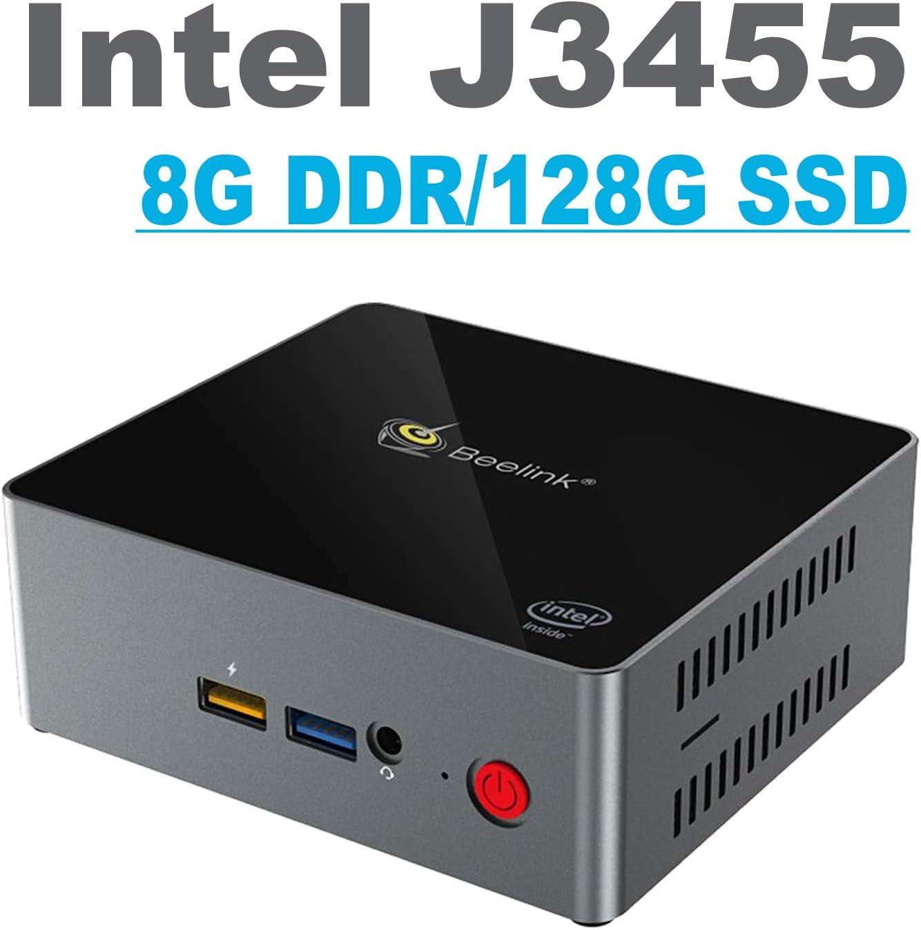 Beelink J34 Mini PC, Windows 10 64-bit Intel Celeron J3455 Processor(up to 2.3GHz) Desktop Computer,8G DDR3L 128G SSD,1000Mbps LAN / 2.4+5.8G WiFi/BT/4xUSB/2xHDMI/4K