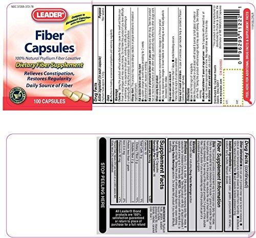 Leader Fiber Laxative, 100 Capsules Per Bottle (12 Pack)