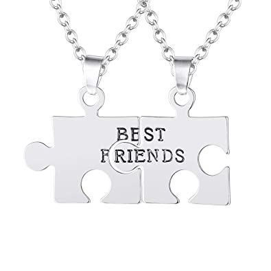 40e9986805998 FJ Always Together Never Apart Puzzle Best Friends BFF Sister Necklace  2/3/4/5/6 Piece