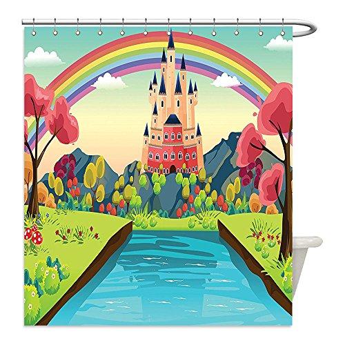 Liguo88 Custom Waterproof Bathroom Shower Curtain Polyester Cartoon Fairytale Princess Prince Charming Home Alluring Castle with Rainbow Image Print Multicolor Decorative bathroom (Warrior Princess Costume Walmart)