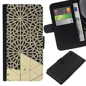 KLONGSHOP // Tirón de la caja Cartera de cuero con ranuras para tarjetas - Arte Artesanía Encaje Talla - Sony Xperia Z2 D6502 //