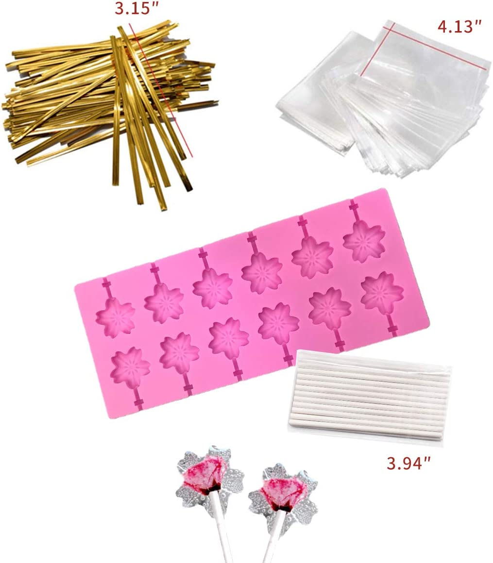 Akingshop 12 Capacity Silicone Cherry Blossoms Lollipop Mold Set, Sucker Molds and Chocolate Hard Candy Mold with 50pcs Lollipop Sucker Sticks, Candy Treat Bags, Gold Ties. (Cherry Blossoms Pink)