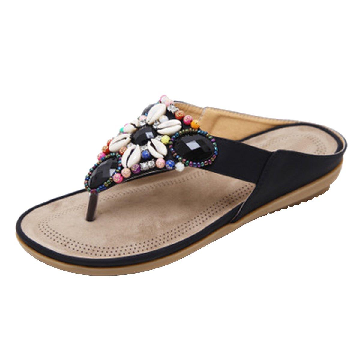 LUXINYU Women Summer Thong Sandal - Bohemia Beaded Flat Slide-on Slipper Flip Flop Shoes - 2 Assorted Color,Black US 5.5
