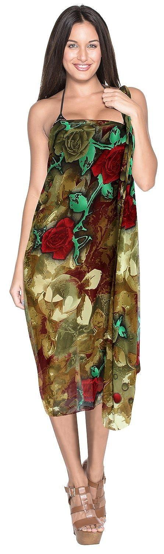 La Leela leichte Chiffon digital stieg alles in einem / Badeanzug vertuschen / Tunika / sundress / Bikini Schlitz Rock / Damen wickeln Pareo / plus Größe Badeanzug Sarong Kleid 175x108 cm beige