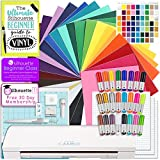 Silhouette CAMEO 3 Bluetooth Starter Bundle with 26 12x12 Oracal 651 Sheets, Swatch Book, Transfer Paper, Guide, Class, Membership, 24 Sketch Pens, and More