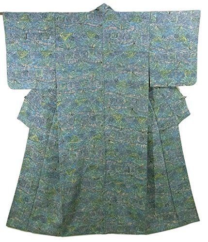 リサイクル 着物 小紋 横段に渦巻き模様 正絹 袷 裄62.5cm 身丈156cm