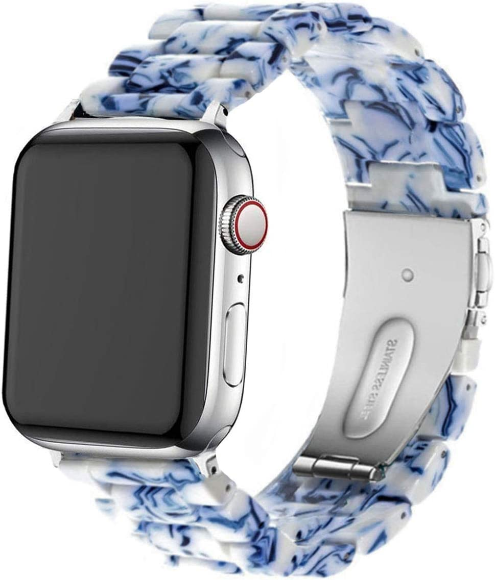 DEALELE Band Compatible with iWatch 38mm 42mm 40mm 44mm, Colorful Resin with Stainless Steel Clasp Strap Replacement for Apple Watch Series 5/4 / 3 Women Men (Blue and White Porcelain, 42mm/44mm)