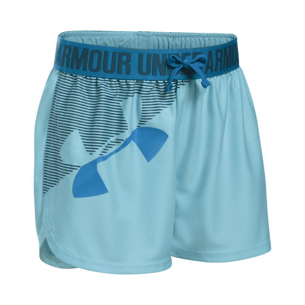 Under Armour Girls' Graphic Play Up Short, Opal Blue (293)/Blue Lotus, Youth Medium
