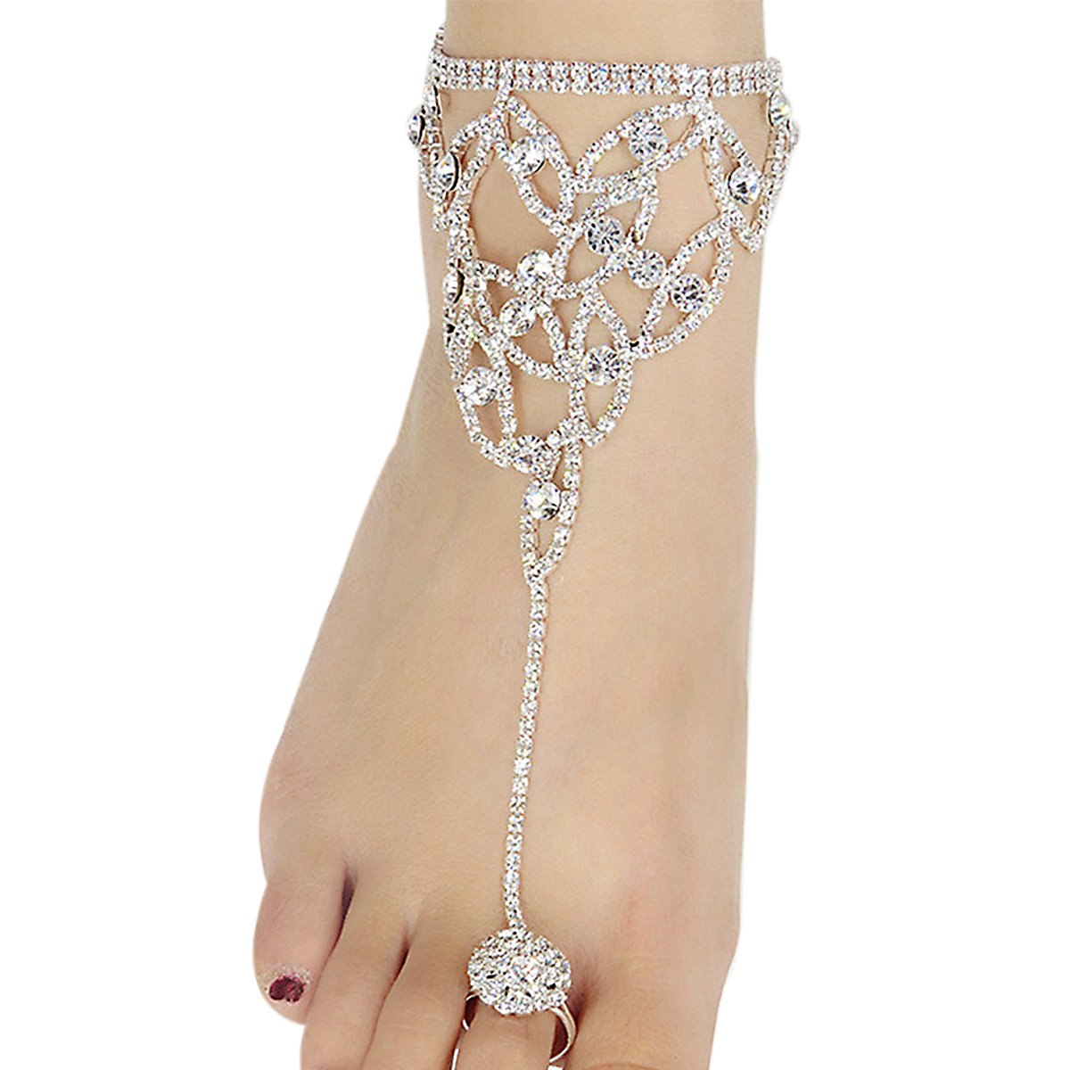 L'vow Crystal Foot Jewelry Anklet Bracelet With Toe Ring Beach Wedding Jewelry L'vow bracelet-3