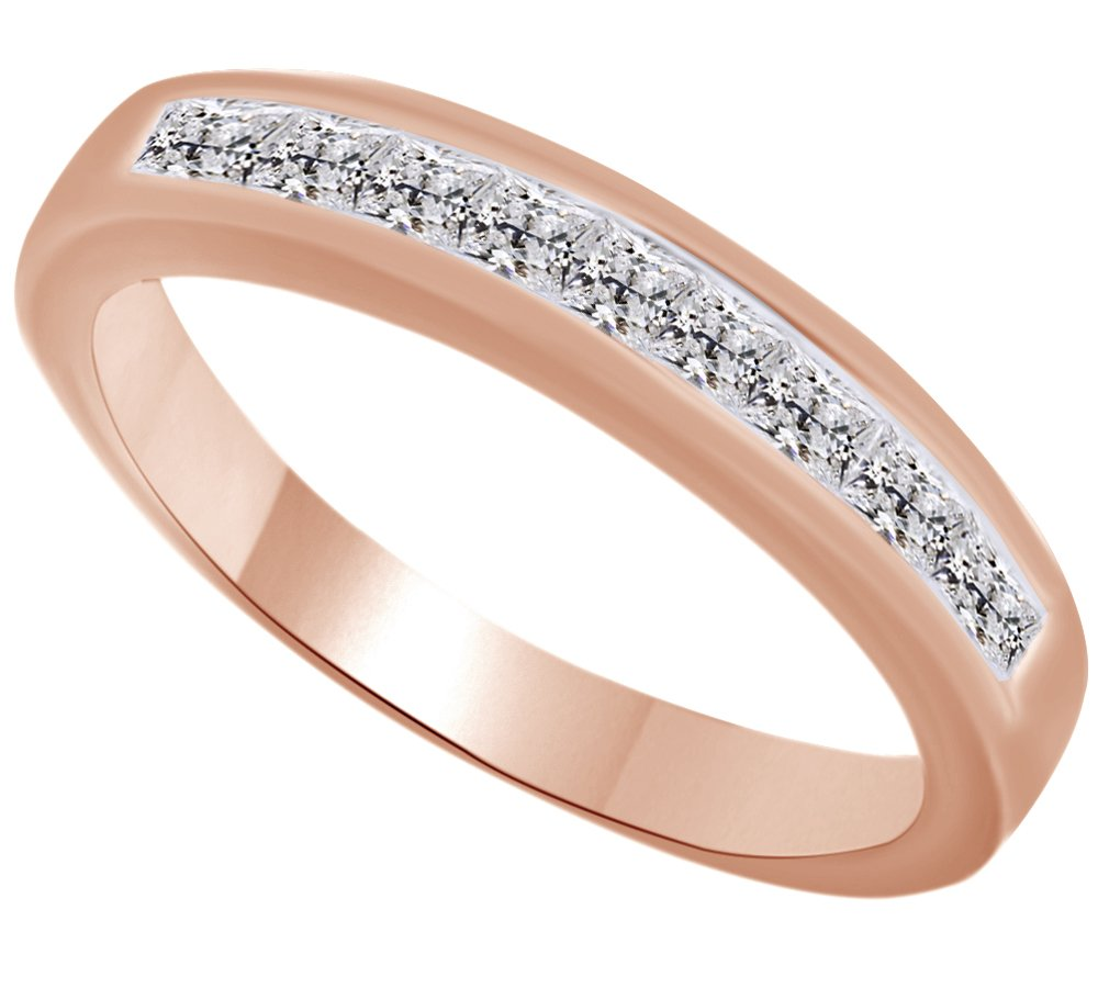Princess Cut White Natural Diamond Half Eternity Ring In 10k Solid Rose Gold (0.5 Cttw) Ring Size - 9 by AFFY (Image #1)