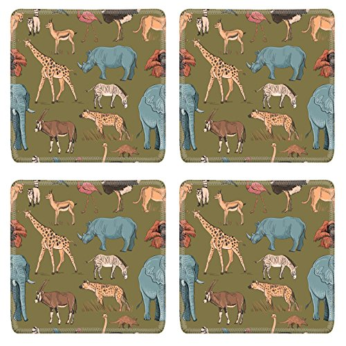 Ostrich Pattern Camel (Luxlady Natural Rubber Square Coasters Image ID: 44082023 Seamless animal planet pattern with giraffe lioness hyena orangutan parrot rhino zebra deer lemur ostrich anteater)