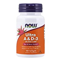 NOW Supplements, Vitamin A & D3 25,000/1,000 IU, Eye Health*, Essential Nutrition, 100 Softgels