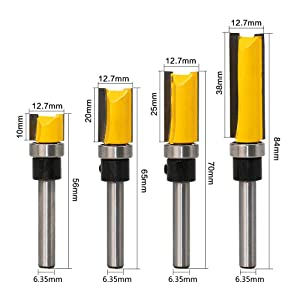 Meihejia 1/4 Inch Shank Pattern Flush Trim Router Bit Set (4 Sizes) (Color: Yellow)