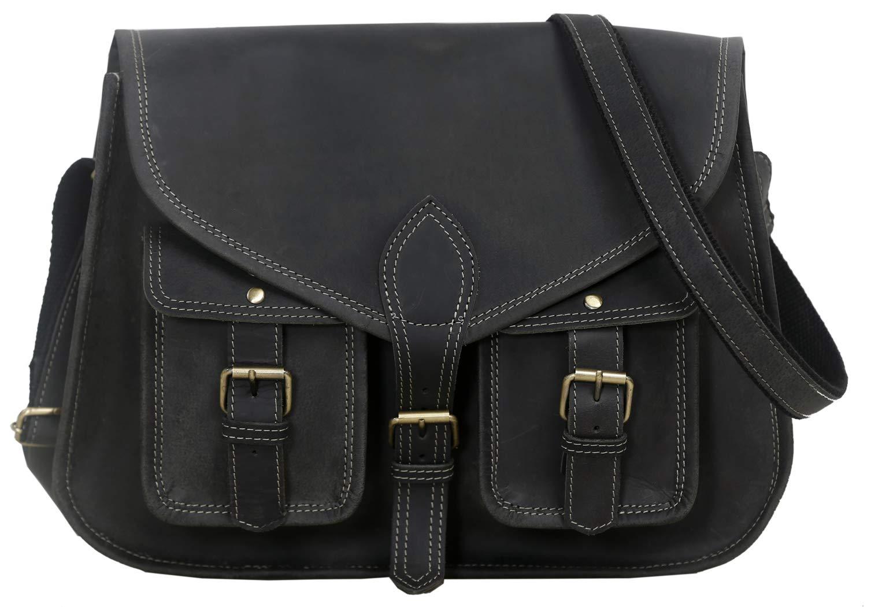 KPL 14 Inch Leather Purse Women Shoulder Bag Crossbody Satchel Ladies Tote Travel Purse Genuine Leather (Charcoal Black Buffalo Leather)