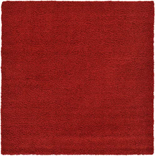 Unique Loom Solo Solid Shag Collection Modern Plush Cherry Red Square Rug (8' 2 x 8' 2)