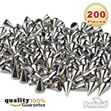 200pcs/set 9.5mm Silver Cone Spikes Screwback Studs DIY Craft Cool Rivets Punk
