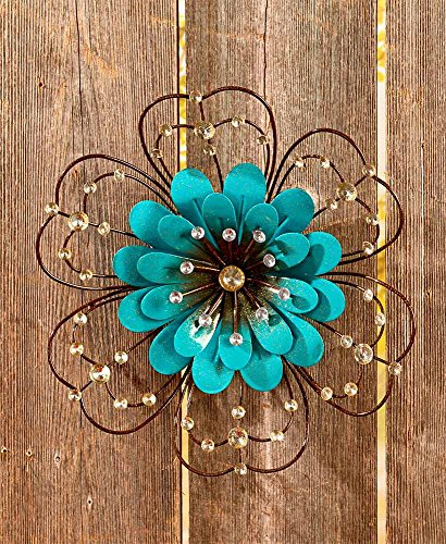 The Lakeside Collection Jeweled Metal Wall Flowers - Blue