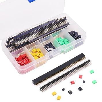 glarks Pin Headers Jumper Caps Surtido Kit, estándar derivaciones de ordenador circuito Junta Socket conectores para Arduino DIY Aprendizaje: Amazon.es: ...