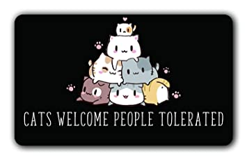 Felpudo de Gatos con Texto en inglés Welcome People Tolerated Doormat Funny Door Mat Interior/Outdoor Rubber Antideslizante Felpudo para Patio Puerta ...