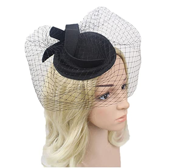 007053126b6 vimans Women s Fascinator Wool Black Felt Pillbox Hat Cocktail Party  Wedding Veil A