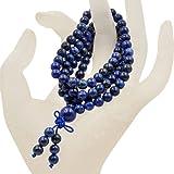 AD 珠子天然宝石佛教 108 祈祷愈珠 马拉弹性 手镯项链 6mm 蓝色(Lapis) 108MALALPS