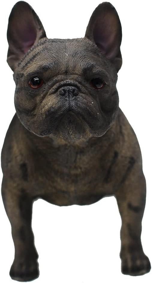 Bonjour French Bulldog With Jingle Collar and Welcome Sign Statue Guest Greeter