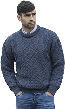Aran Crafts Irish Soft Cable Knitted Crew Neck Sweater (100% Pure New Wool)