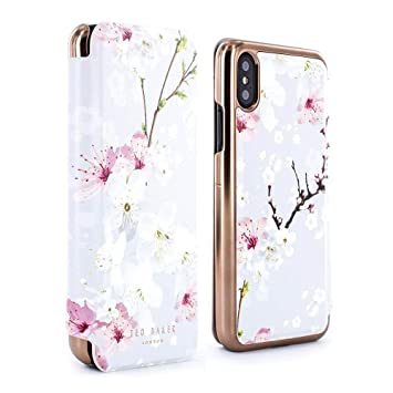 sports shoes 14a17 f4aa1 Ted Baker BREEK Mirror Folio Case for iPhone X/XS, Premium Folio Cover for  Professional Women/Girls - Oriental Blossom