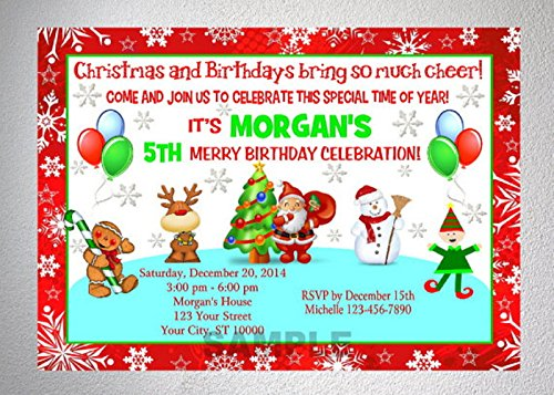 Amazoncom Christmas Birthday Party Invitation Printable