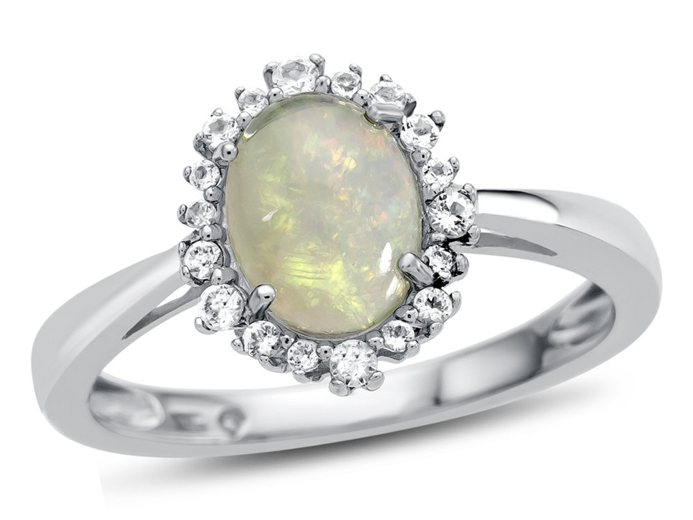 Finejewelers 10k White Gold 8x6mm Oval Opal with White Topaz accent stones Halo Ring Size 8