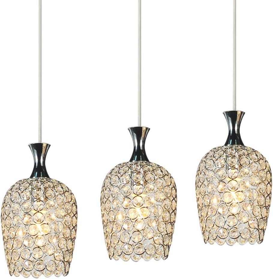 DINGGU Modern 3 Lights Crystal Pendant Lighting for Kitchen Island and Dining Room