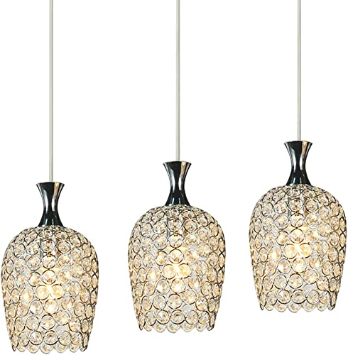 FEEKENBU Modern 3 Lights Crystal Pendant Lighting