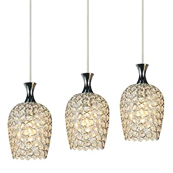 DINGGUtrade Modern 3 Lights Crystal Pendant Lighting For Kitchen Island And Dining Room