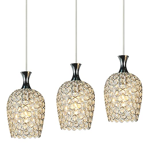 DINGGUTM Modern 3 Lights Crystal Pendant Lighting For Kitchen Island And Dining Room