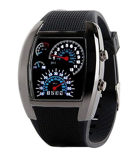 Hombres Deportes Relojes de pulsera de silicona Militar LED Digital Silicona Reloj (Negro)