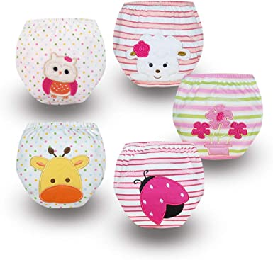 Babyfriend Infant Baby Girls Cotton Toilet Potty Training Pants 5 Pack of Waterproof Cloth Diaper Underpants