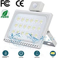 100W Foco Exterior LED con Sensor de Movimiento Floodlight 10000LM 6500K Impermeable IP65 Proyector Foco LED Iluminación de Seguridad Blanco Frío para garaje Patio [Clase de eficiencia energética A+]