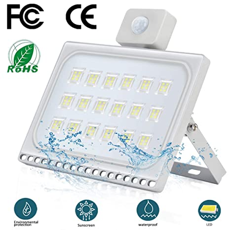 100W Foco Exterior LED con Sensor de Movimiento Floodlight 10000LM ...
