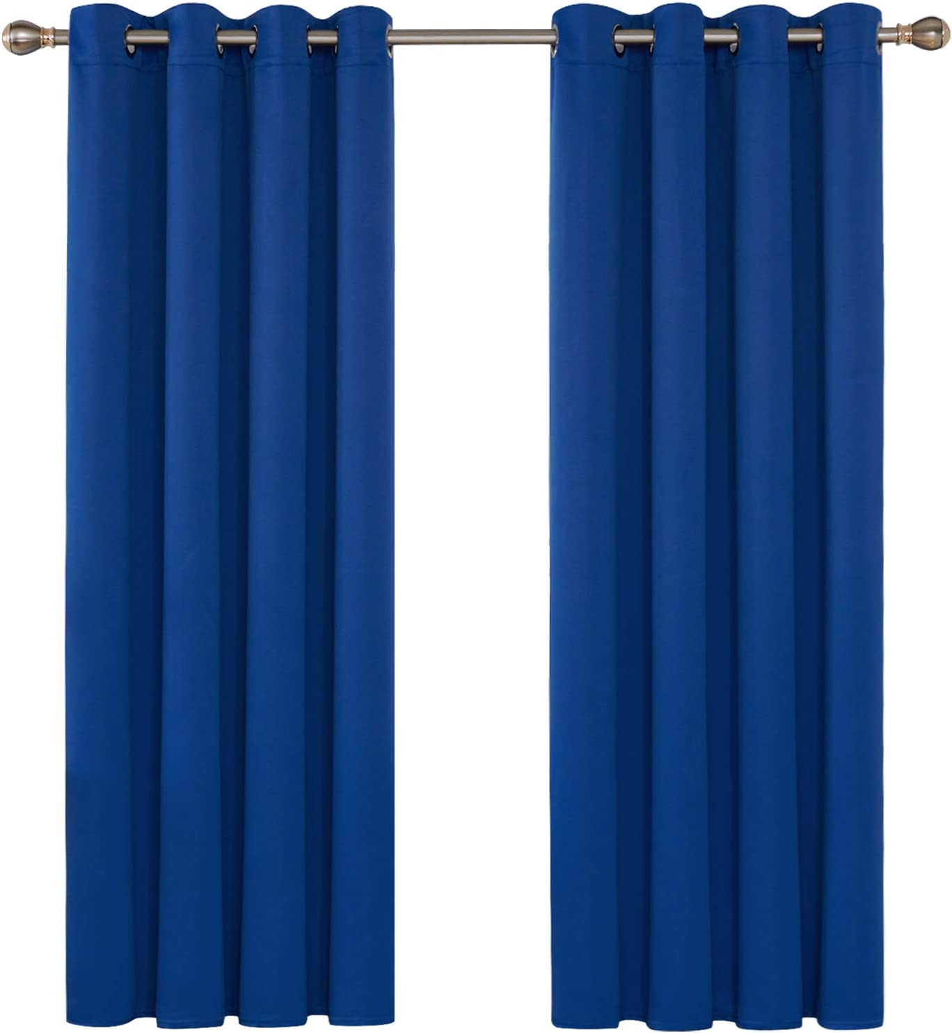 Deconovo Blue Blackout Curtains Eyelet Thermal Insulated Bedroom Blackout Curtains for Living Room 46 x 54 Inch Drop 2 Panels W46 x L54 Blue
