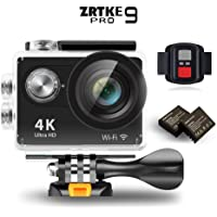ZRTKE 4K Ultra HD WiFi Waterproof Sports Action Camera with Includes 2 Rechargeable Batteries and Accessory Kit (Black)