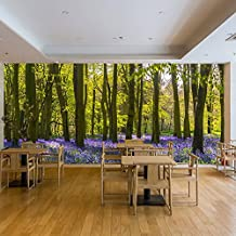 Purple Flowers Wall Mural Forest Trees Photo Wallpaper Living Room Bedroom Decor available in 8 Sizes XXX-Large Digital