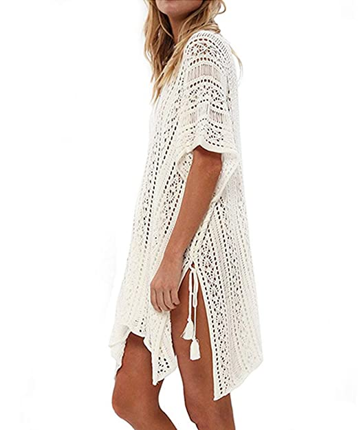 700112f85c Durio Solid Bikini Cover Ups for Women Summer Swimwear Bathing Suit Crochet  Dress Bikini Swimsuit Beach