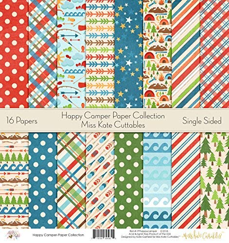 Pattern Paper Pack - Happy Camper - Scrapbook Premium Specialty Paper Single-Sided 12