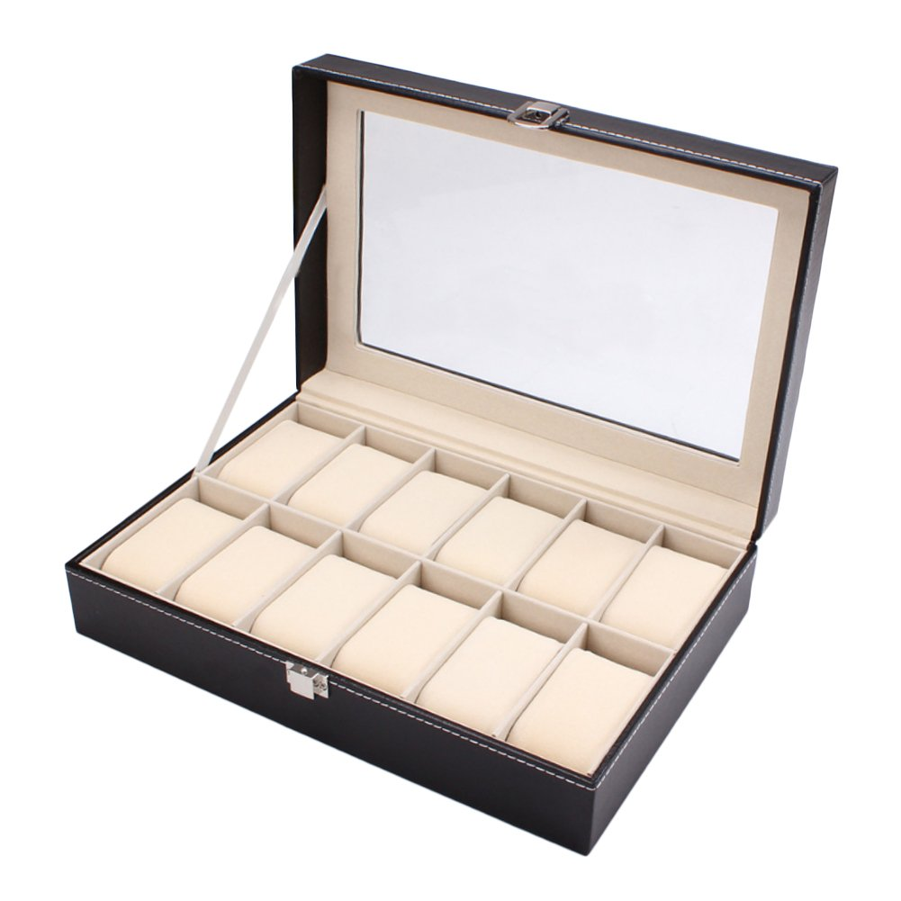 HUALING Watch Box fÜr Herren 12 Slot Watchcase Watch Display Box Schmuck Box