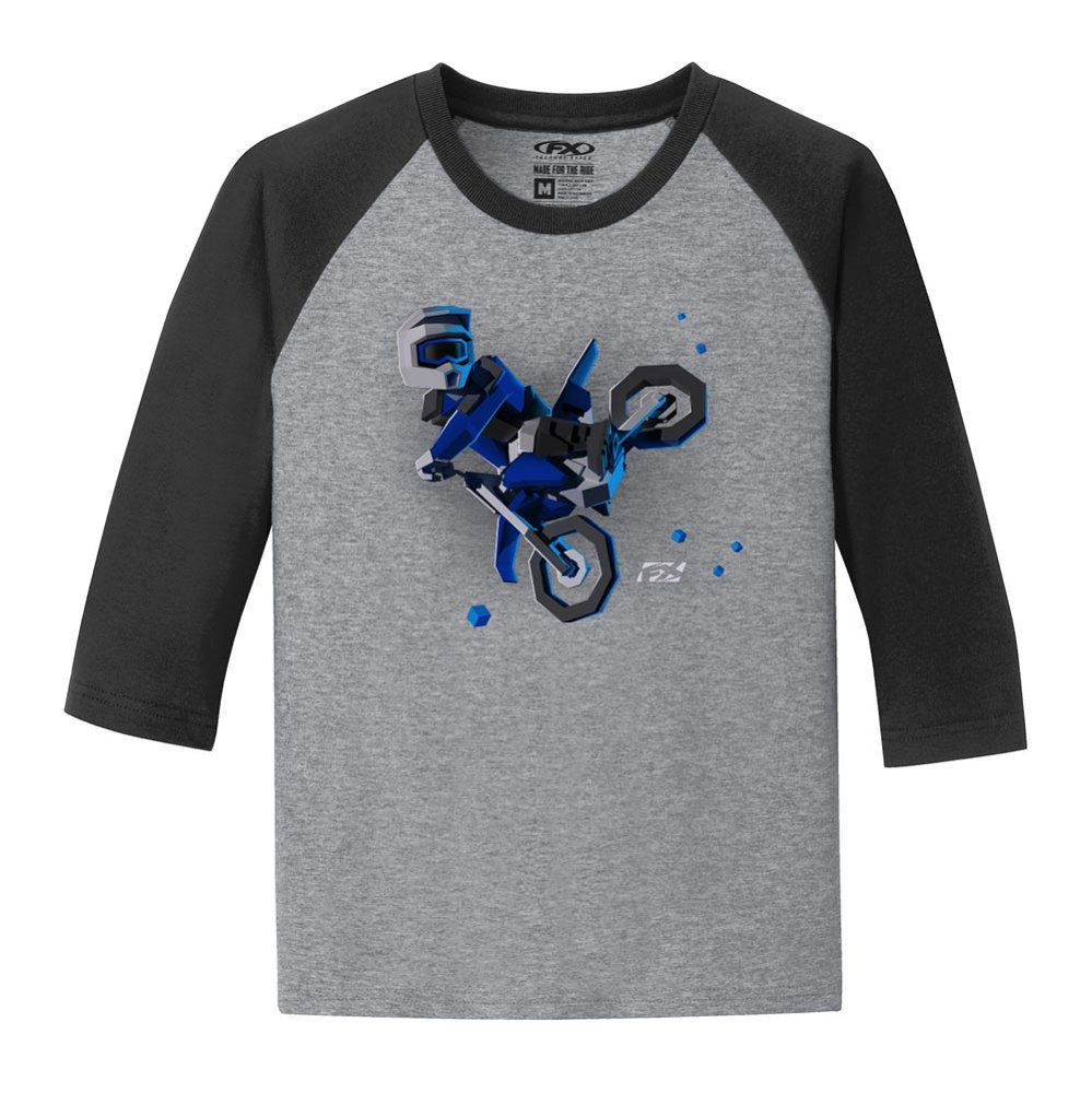 Factory Effex 21-83720 Unisex-Child FX Moto Kids Boys Youth Baseball T-Shirt Black-White, Small 1 Pack