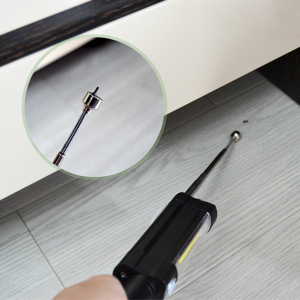 LED Arbeitsleuchte Werkstattlampe Inspektionsleuchten COB LED Taschenlampe mit Magnetfuß Magnet Teleskopstange 3 Leucht-Modi MEHRWEG