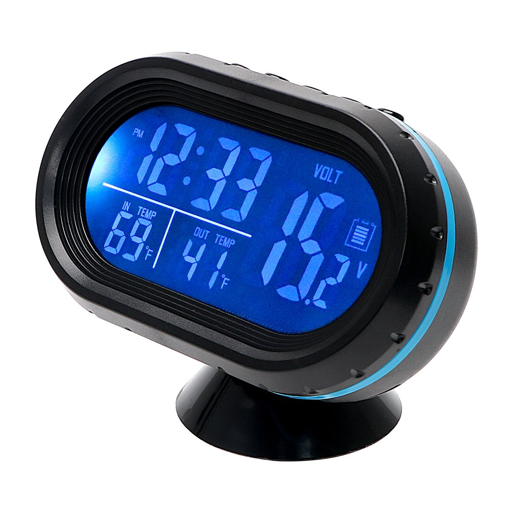 Car Interior Accessories Clock Thermometer Voltage LED Display Car Ornament Blue Holdream